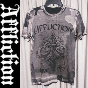 """Affliction Small Black & Gray T-shirt """"Live Fast"""""""